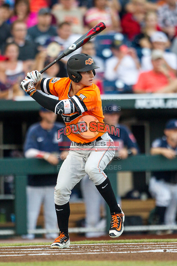 Oklahoma State Cowboys outfielder Corey Hassel (28) at bat against the Arizona Wildcats during Game 6 of the NCAA College World Series on June 20, 2016 at TD Ameritrade Park in Omaha, Nebraska. Oklahoma State defeated Arizona 1-0. (Andrew Woolley/Four Seam Images)