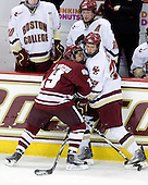 James Marcou (UMass - 19), Paul Carey (BC - 22) - The Boston College Eagles defeated the University of Massachusetts-Amherst Minutemen 5-2 on Saturday, March 13, 2010, at Conte Forum in Chestnut Hill, Massachusetts, to sweep their Hockey East Quarterfinals matchup.