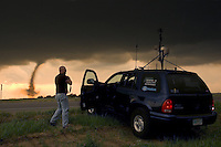 Storm chasers document the development of a tornado near El Reno Oklahoma on April 24th, 2006.