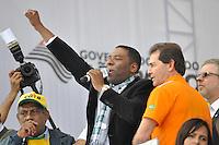 SAO PAULO, SP, 01 DE MAIO  DE 2012 -  1º DE MAIO UNIFICADO - Netinho de Paula  esteve presente no dia do trabalhador unificado que foi comemorado com ato organizado pela Força Sindical e diversos outros sindicatos na praça Campos de Bagatelle, zona norte da cidade. FOTO: LEVI BIANCO - BRAZIL PHOTO PRESS