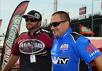 Jun. 29, 2012; Joliet, IL, USA: NHRA top fuel dragster driver Shawn Langdon (left) with Brandon Bernstein during qualifying for the Route 66 Nationals at Route 66 Raceway. Mandatory Credit: Mark J. Rebilas-