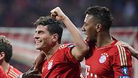 FUSSBALL   CHAMPIONS LEAGUE  HALBFFINAL HINSPIEL   2011/2012      FC Bayern Muenchen - Real Madrid          17.04.2012 Jubel nach dem 2:1: Mario Gomez (li) und Jerome Boateng (re, beide FC Bayern Muenchen)