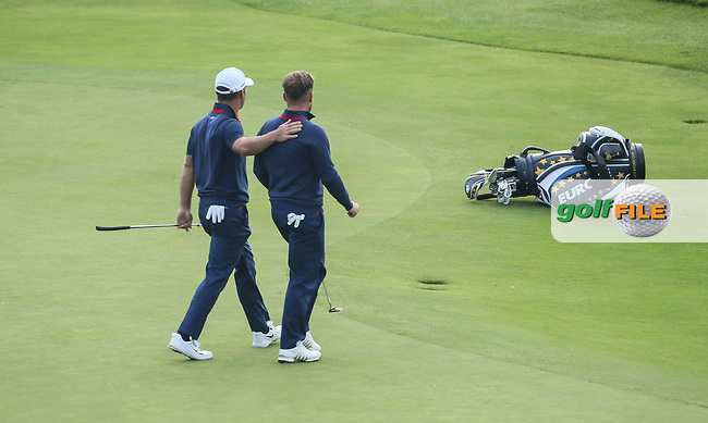 Paul Casey (Team Europe) comforts Tyrrell Hatton (Team Europe) on the 9th during Friday's Fourballs, at the Ryder Cup, Le Golf National, Îls-de-France, France. 28/09/2018.<br /> Picture David Lloyd / Golffile.ie<br /> <br /> All photo usage must carry mandatory copyright credit (© Golffile | David Lloyd)
