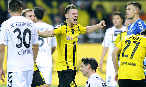 23.09.2016. Dortmund, Germany. German Bundesliga Football. Borussia Dortmund versus SC Freibrug.  The cheering from Lukasz Piszczek Borussia After his goal for 2 0