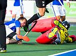UTRECHT - Ties Ceulemans (Kampong) met Sam van der Ven (HGC) tijdens de hoofdklasse  hockeywedstrijd heren, Kampong-HGC (3-3) . COPYRIGHT KOEN SUYK