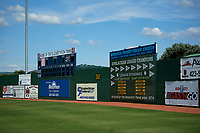 The outfield scoreboard at the Elizabethton Twins home ballpark during a game against the Bristol Pirates on July 28, 2018 at Joe O'Brien Field in Elizabethton, Tennessee.  Elizabethton defeated Bristol 5-0.  (Mike Janes/Four Seam Images)