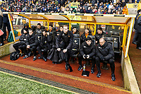 Wolverhampton Wanderers head coach Nuno Espirito Santo  (R) with the rest of his coaching staff and players during the Emirates FA Cup match between Wolverhampton Wanderers and Swansea City at The Molineux Stadium, Wolverhampton, England, UK. Saturday 06 January 2018