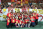 INAC Kobe Leonessa team group,<br /> DECEMBER 23, 2013 - Football / Soccer :<br /> INAC Kobe Leonessa players pose with fans as they celebrate after winning the 35th All Japan Women's Football Championship final match between INAC Kobe Leonessa 2(4-3)2 Albirex Niigata Ladies at NACK5 Stadium Omiya in Saitama, Japan. (Photo by AFLO)