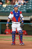 Chattanooga Lookouts catcher J.C. Boscan (15) during a game against the Birmingham Barons on April 24, 2014 at AT&T Field in Chattanooga, Tennessee.  Chattanooga defeated Birmingham 5-4.  (Mike Janes/Four Seam Images)