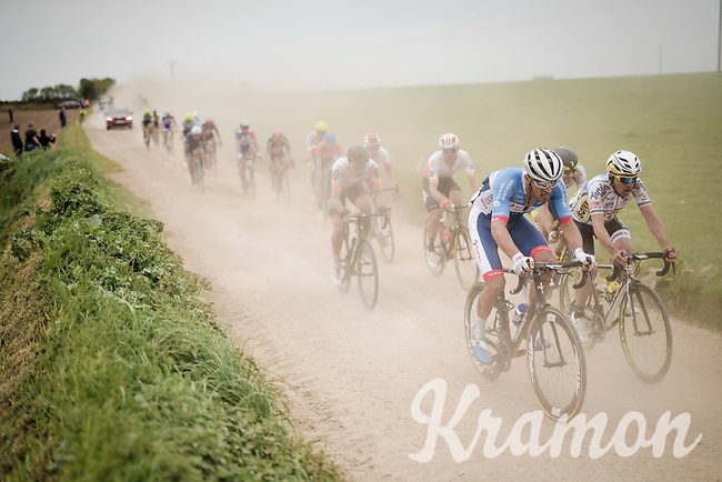 Damien Godin (FRA/Total Direct Energie) racing over the Breton gravel roads<br /> <br /> 36th TRO BRO LEON 2019 (FRA)<br /> One day race from Plouguerneau to Lannilis (205km)<br /> <br /> ©kramon