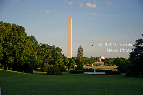 Very high resolution photo of the Washington Monument and Jefferson Memorial in late summer evening light about an hour before sunset from the South Lawn of the White House in Washington, DC on Monday, June 26, 2017.<br /> Credit: Ron Sachs / CNP
