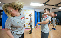NWA Democrat-Gazette/BEN GOFF @NWABENGOFF<br /> Alexa Bell, teaching artist, works with Wyatt Rice, 14, of Bentonville as students learn stage combat techniques Tuesday, June 11, 2019, during the Shakespeare Camp at Trike Theatre in Bentonville. The five-day camp is one of many offered by Trike Theatre over the summer. Trike Theatre is also presenting the Northwest Arkansas Shakespeare Festival this week with performances of 'A Midsummer Night's Dream' at 7:00 p.m. Thursday, Friday and Saturday at Train Station Park across from the Bentonville Public Library.