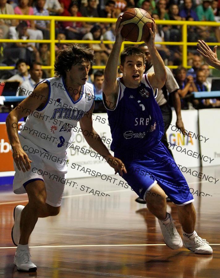 Sport Kosarka Basketball European Championship Qualifier Round 1 Italija Italy Srbija Serbia National Team Sardegna Cagliari Sardinija Kaljari Kvalifikacije Za Evropsko Prvenstvo Milenko Tepic 20.8.2008. (credit image © photo: Pedja Milosavljevic)