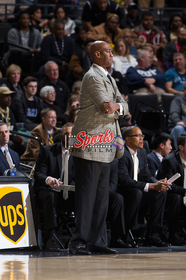 Wake Forest Demon Deacons head coach Danny Manning watches from the sideline during first half action against the Duke Blue Devils at the LJVM Coliseum on January 6, 2016 in Winston-Salem, North Carolina.  The Blue Devils defeated the Demon Deacons 91-75.  (Brian Westerholt/Sports On Film)