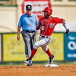 1 March 2019: Washington Nationals outfielder and top prospect Victor Robles on the basepath during a Spring Training game against the Miami Marlins at Roger Dean Stadium in Jupiter, Florida. The Nationals defeated the Marlins 5-4 in Grapefruit League play. Mandatory Credit: Ed Wolfstein Photo *** RAW (NEF) Image File Available ***