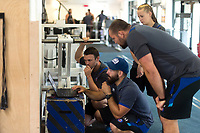 Damien Kelly, Jameson Mola and Tom Dunn of Bath Rugby in the gym. Bath Rugby pre-season training on June 22, 2017 at Farleigh House in Bath, England. Photo by: Patrick Khachfe / Onside Images
