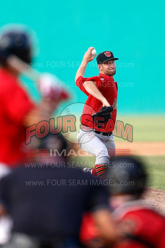 Daniel Watts #34 of the Visalia Rawhide pitches against the High Desert Mavericks at Stater Bros. Stadium on July 20, 2013 in Adelanto, California. High Desert defeated Visalia, 7-4. (Larry Goren/Four Seam Images)