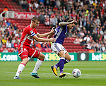 Billy Sharp of Sheffield Utd and Ben Gibson of Middlesbrough during the Championship match at the Riverside Stadium, Middlesbrough. Picture date: August 12th 2017. Picture credit should read: Simon Bellis/Sportimage
