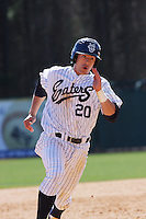 Francis Larson of the University of California at Irvine running during a game against James Madison University at the Baseball at the Beach Tournament held at BB&T Coastal Field in Myrtle Beach, SC on February 28, 2010.