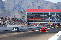 Feb 25, 2017; Chandler, AZ, USA; NHRA top sportsman driver Ed Olpin (left) races alongside Graham Foster during qualifying for the Arizona Nationals at Wild Horse Pass Motorsports Park. Mandatory Credit: Mark J. Rebilas-USA TODAY Sports