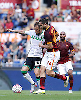 Calcio, Serie A: Roma vs Sassuolo. Roma, stadio Olimpico, 20 settembre 2015.<br /> Sassuolo&rsquo;s Antonio Floro Flores, left, and Roma&rsquo;s Kostas Manolas fight for the ball during the Italian Serie A football match between Roma and Sassuolo at Rome's Olympic stadium, 20 September 2015.<br /> UPDATE IMAGES PRESS/Isabella Bonotto