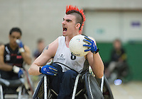 27 MAY 2013 - DONCASTER, GBR - David Anthony of the South Wales Pirates celebrates scoring during the 2013 Great Britain Wheelchair Rugby Nationals bronze medal match against the West Coast Crash at The Dome in Doncaster, South Yorkshire, Great Britain (PHOTO (C) 2013 NIGEL FARROW)