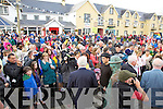 Hundreds gathered for the opening festivities in Waterville on Thursday for the Charlie Chaplin Comedy Film Festival pictured here Arthur Gardin Charlie's Grandson being interviewed by Michael Ryan from Nationwide.