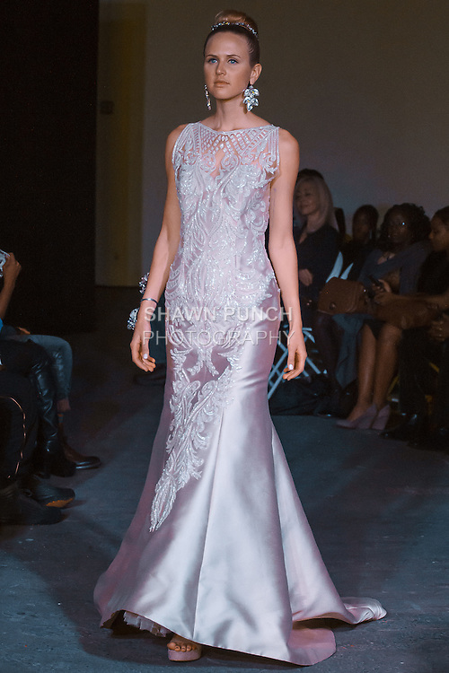 Model walks runway in an outfit from the Joyce Penas Pilarsky Darings Collection Spring Summer 2016 fashion show, during Fashion Week Brooklyn Spring Summer 2016.