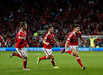 Ben Woodburn of Wales (r) celebrates scoring the winning goal during the World Cup Qualifying Group D match at the Cardiff City Stadium, Cardiff. Picture date 2nd September 2017. Picture credit should read: Simon Bellis/Sportimage
