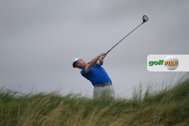 Simon Ward (Co. Louth) on the 18th tee during the South of Ireland Amateur Open Championship Final at Lahinch Golf Club  31th July 2013 <br /> Picture:  Thos Caffrey / www.golffile.ie