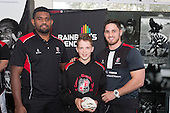 Roller Mills Most Improved Player of the Year, Matthew Waddell from Pukekohe Intermediate with Viliame Rarasea and Sam Henwood. Counties Manukau Rugby Unions Junior Prize giving held at ECOLight Stadium Pukekohe on Wednesday October12th, 2016.<br /> Photo by Richard Spranger.