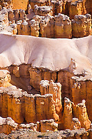 Close up of the orange pinnacle formations in Bryce Canyon National Park, Utah, USA