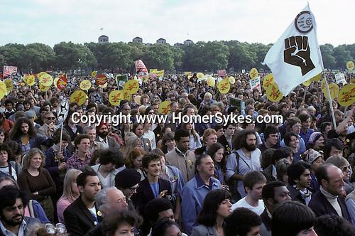 ANTI NAZI LEAGUE Rock Against Racism, rally Hyde Park London 1978.