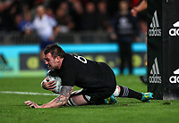 Liam Squire crosses the tryline during the Bledisloe Cup and Rugby Championship rugby match between the New Zealand All Blacks and Australia Wallabies at Eden Park in Auckland, New Zealand on Saturday, 25 August 2018. Photo: Simon Watts / lintottphoto.co.nz
