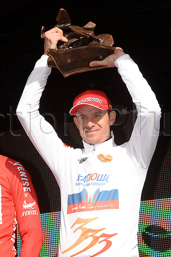 02.04.2015, Flanders, Belgium. Cycling Three Days of De Panne Stage 3.  Kristoff Alexander on the podium as the overall event winner after stage 3 time trials