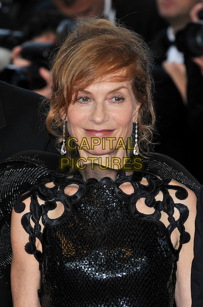 ISABELLE HUPPERT.'Vengance' screening.62nd International Cannes Film Festival.Cannes, France. 17th May 2009.portrait headshot black dangly earrings cut out cap shiny .CAP/PL.©Phil Loftus/Capital Pictures