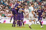 Fiorentina's Giovanni Simeoni and Federico Chiesa celebrating a goal during XXXVIII Santiago Bernabeu Trophy at Santiago Bernabeu Stadium in Madrid, Spain August 23, 2017. (ALTERPHOTOS/Borja B.Hojas)