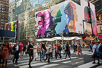 A billboard in Times Square in New York on Friday, October 5, 2012 advertises the Rdio streaming music service. Media reports indicate that Microsoft is currently in talks to acquire the music service. Rdio is currently ramping up its advertising, competing against better known services such as Pandora and Spotify.   (© Richard B. Levine)