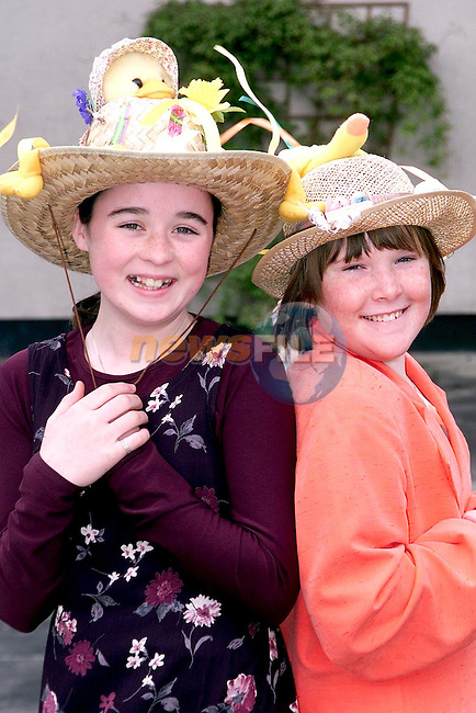 Ruth Carroll, Harmony Heights and Kate Campbell, Newfield with thier Easter Bonnets in the Presentationn School, Ballymakenny..Picture Paul Mohan Newsfile