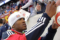 Dane Richards (19) of the New York Red Bulls signs autographs prior to a Major League Soccer match between the New York Red Bulls and the Chicago Fire at Red Bull Arena in Harrison, NJ, on March 27, 2010. The Red Bulls defeated the Fire 1-0.