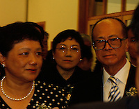 "Li Ka Shing (right) together with Deng's daughters, Deng Nan (left) and Deng Rong (middle) at the opening ceremony of ""Giant of the Century"" - an exhibition to commemorate the 100th Anniversary of the Birth of Deng Xiaoping in Hong Kong. The exhibition aims at introducing Deng's life to the people of Hong Kong.<br /> 26-AUG-04"