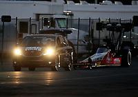 Nov 10, 2018; Pomona, CA, USA; NHRA top fuel driver Doug Kalitta during the Auto Club Finals at Auto Club Raceway. Mandatory Credit: Mark J. Rebilas-USA TODAY Sports