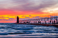 64795-02614 South Haven Lighthouse at sunset South Haven,  MI