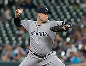 New York Yankees relief pitcher Adam Ottavino (0) works in the eighth inning against the Baltimore Orioles at Oriole Park at Camden Yards in Baltimore, MD on Tuesday, August 6, 2019.  The Yankees won the game 9 - 4.<br /> Credit: Ron Sachs / CNP<br /> (RESTRICTION: NO New York or New Jersey Newspapers or newspapers within a 75 mile radius of New York City)
