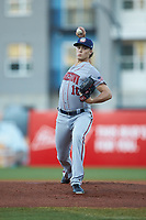 Hagerstown Suns starting pitcher Jake Irvin (16) in action against the Greensboro Grasshoppers at First National Bank Field on April 6, 2019 in Greensboro, North Carolina. The Suns defeated the Grasshoppers 6-5. (Brian Westerholt/Four Seam Images)