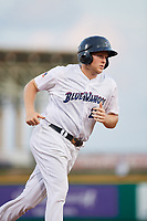 Pensacola Blue Wahoos Shrimp first baseman Gavin LaValley (25) rounds the bases after Chris Okey (not pictured) hit a home run in the bottom of the third inning during a game against the Jacksonville Jumbo on August 15, 2018 at Blue Wahoos Stadium in Pensacola, Florida.  Jacksonville defeated Pensacola 9-2.  (Mike Janes/Four Seam Images)