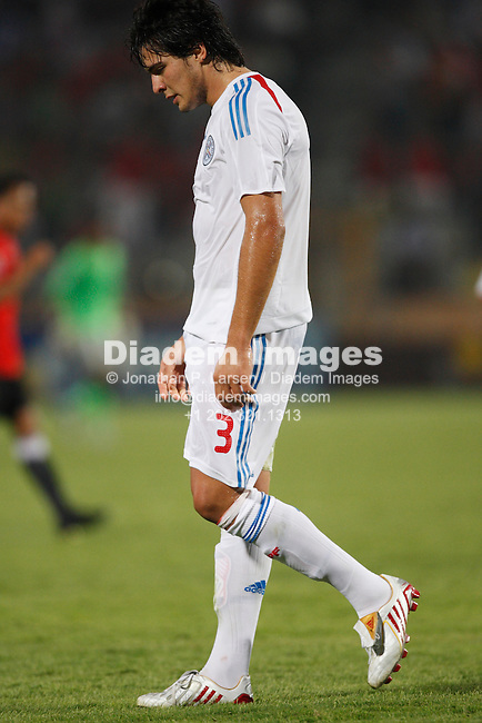CAIRO - SEPTEMBER 28:  Ronald Huth of Paraguay hangs his head after being ejected from a FIFA U-20 World Cup soccer match against Egypt September 28, 2009 in Cairo, Egypt.  (Photograph by Jonathan P. Larsen)