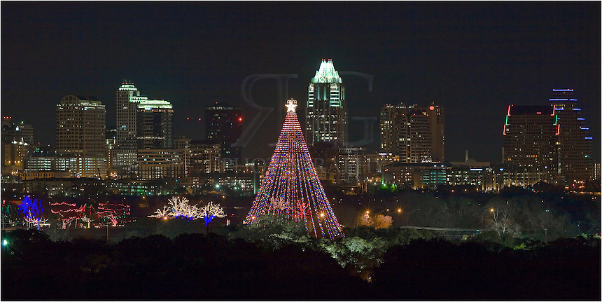This Austin panorama shows the Austin skyline with the Zilker Park Tree in the foreground.