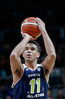 July 12, 2016: DORIAN PICKENS (11) of the Stanford Cardinal takes a free throw during game 1 of the Australian Boomers Farewell Series between the Australian Boomers and the American PAC-12 All-Stars at Hisense Arena in Melbourne, Australia. Sydney Low/AsteriskImages.com