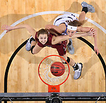 SIOUX FALLS, SD: MARCH 7: Allex Brown #35 of IUPUI and Mallory Boyle #10 of Western Illinois get rebounding position during the Women's Summit League Basketball Championship Game on March 7, 2017 at the Denny Sanford Premier Center in Sioux Falls, SD. (Photo by Dave Eggen/Inertia)